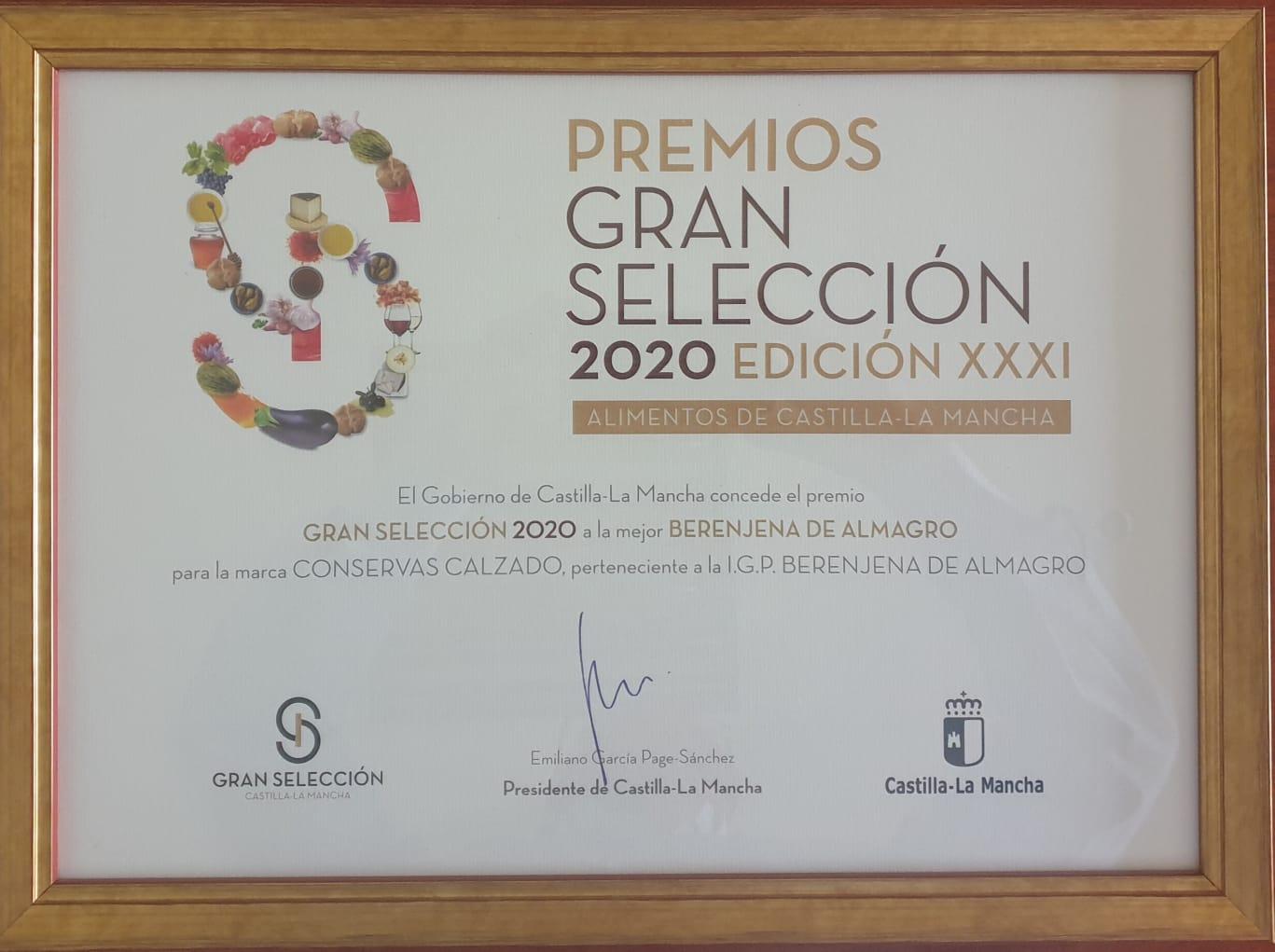 Premio Gran Selección 2020 Mejor Berenjena de Almagro
